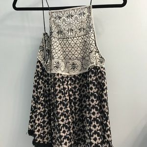 Stitched black and cream tank top